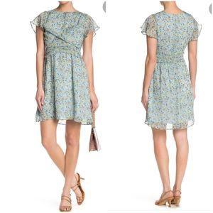 NWT Sam Edelman Chiffon Patterned Drape Mini Dress